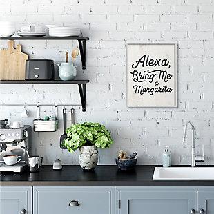 Stupell Alexa Bring Me Margarita Distressed Kitchen Sign 16 x 20 Framed Wall Art, Beige, rollover
