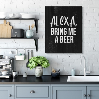 Stupell Alexa Bring Beer Funny Chalk Style Distressed Design 30 x 40 Canvas Wall Art, Black, large