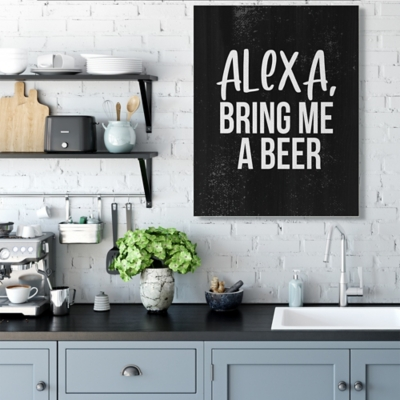 Stupell Alexa Bring Beer Funny Chalk Style Distressed Design 36 x 48 Canvas Wall Art, Black, large
