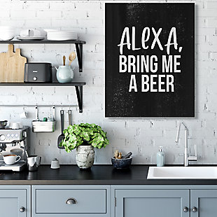 Stupell Alexa Bring Beer Funny Chalk Style Distressed Design 36 x 48 Canvas Wall Art, Black, rollover