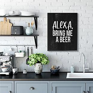 Stupell Alexa Bring Beer Funny Chalk Style Distressed Design 24 x 30 Framed Wall Art, Black, rollover