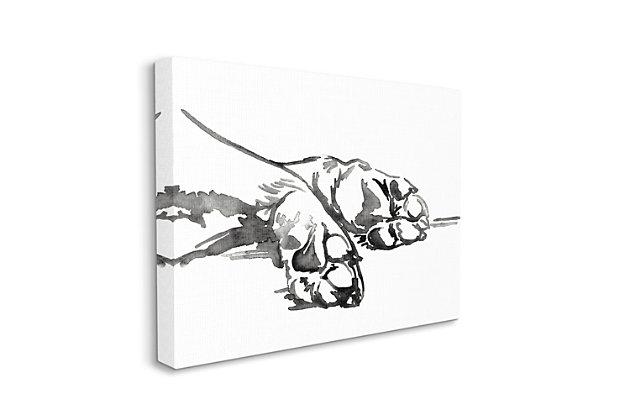Stupell Pet Animal Paws Minimal Ink Linework 30 X 40 Canvas Wall Art, White, large