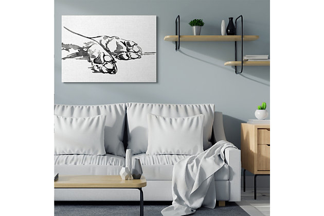 Stupell Pet Animal Paws Minimal Ink Linework 36 X 48 Canvas Wall Art, White, large