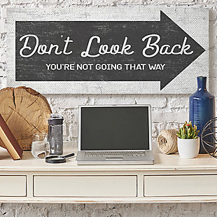 Stupell Don't Look Back Quote Forward Facing Arrow 20 X 48 Canvas Wall Art, Gray, rollover