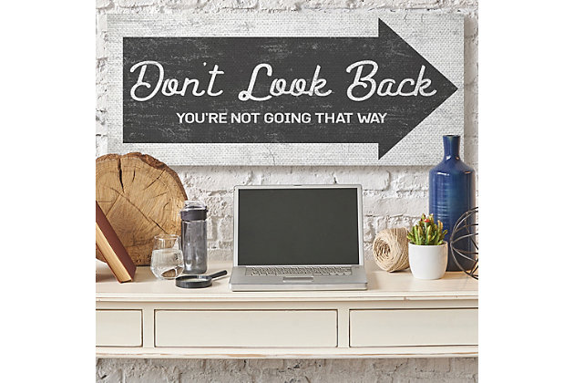 Stupell Don't Look Back Quote Forward Facing Arrow 20 X 48 Canvas Wall Art, Gray, large