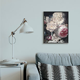 Stupell Blushing Floral Petals Enchanting Pink White Flowers 24 x 30 Framed Wall Art, Gray, rollover