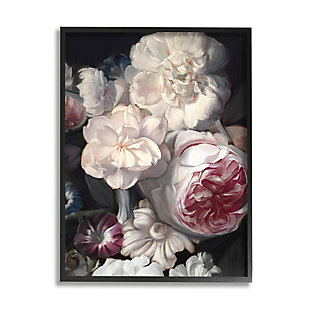 Stupell Blushing Floral Petals Enchanting Pink White Flowers 24 x 30 Framed Wall Art, Gray, large