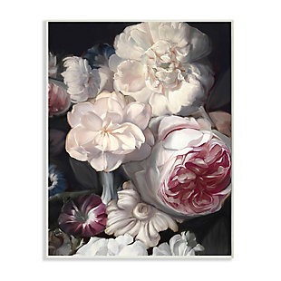 Stupell Blushing Floral Petals Enchanting Pink White Flowers 13 x 19 Wood Wall Art, Gray, large