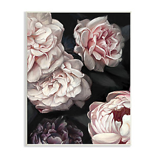 Stupell Clustered Pink and White Florals Elegant Flowers 13 x 19 Wood Wall Art, Gray, large