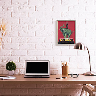Stupell Bourdou Vintage Elephant Advertisement Bar Illustration 16 x 20 Framed Wall Art, Red, rollover