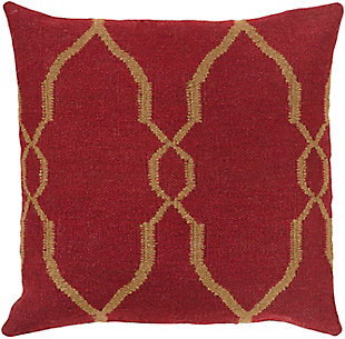 "Felicity Dark Red Diamond Pattern 18"" Throw Pillow, , large"