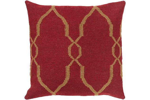 """Felicity Dark Red Diamond Pattern 18"""" Throw Pillow, Dark Red/Dark Brown, large"""