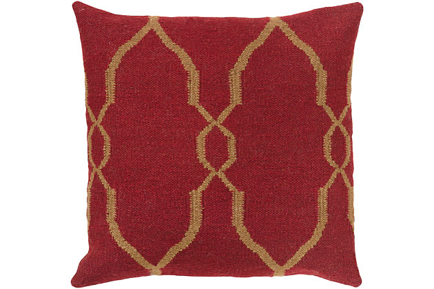 "Felicity Dark Red Diamond Pattern 22"" Throw Pillow, , large"