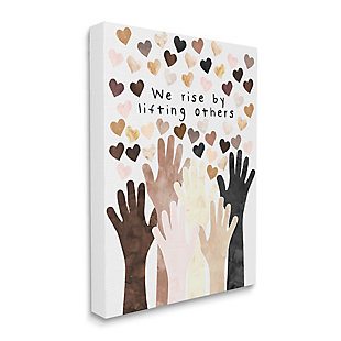 Stupell We Rise By Lifting Others Quote Hands Hearts 36 X 48 Canvas Wall Art, Orange, large