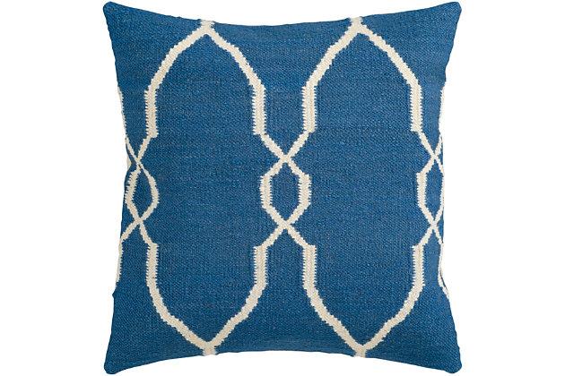 "Felicity Blue Diamond Pattern 18"" Throw Pillow, Dark Blue/Cream, large"