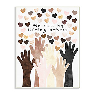 Stupell We Rise by Lifting Others Quote Hands Hearts 13 x 19 Wood Wall Art, Orange, large
