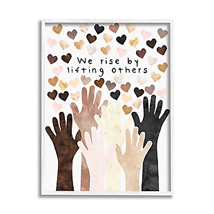 Stupell We Rise by Lifting Others Quote Hands Hearts 24 x 30 Framed Wall Art, Orange, large