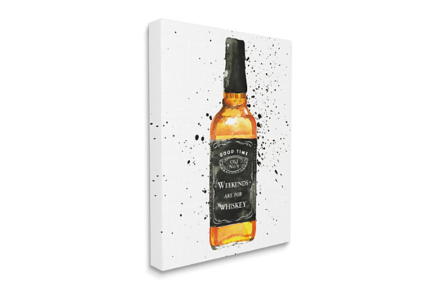 Stupell Weekends Are For Whiskey Quote Liquor Bottle 36 X 48 Canvas Wall Art, White, large