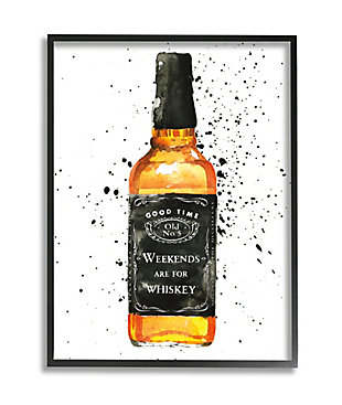 Stupell Weekends Are For Whiskey Quote Liquor Bottle 24 x 30 Framed Wall Art, White, large