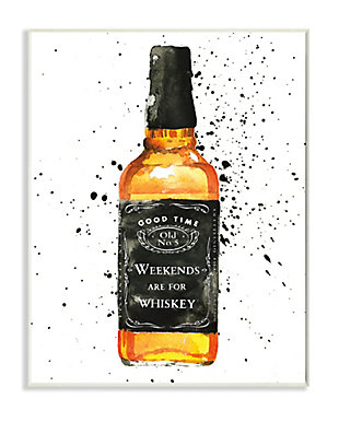 Stupell Weekends Are For Whiskey Quote Liquor Bottle 13 x 19 Wood Wall Art, White, large