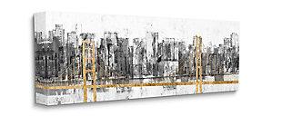 Stupell Golden Bridge Over Urban Distressed Cityscape 20 X 48 Canvas Wall Art, Gray, large