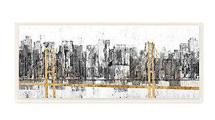 Stupell Golden Bridge over Urban Distressed Cityscape 7 x 17 Wood Wall Art, , large