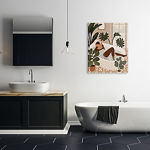 Stupell Female Reading In Bath Tropical Palm Plants 30 X 40 Canvas Wall Art, Brown, rollover