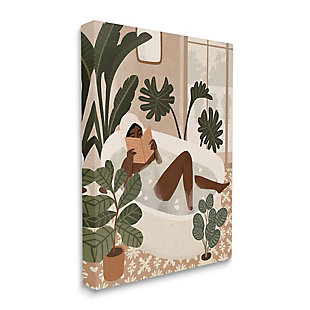 Stupell Female Reading In Bath Tropical Palm Plants 30 X 40 Canvas Wall Art, Brown, large