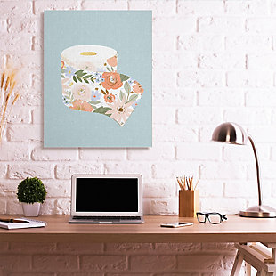 Stupell Spring Floral Print Toilet Paper Over Blue 36 X 48 Canvas Wall Art, Green, rollover