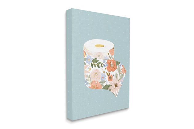 Stupell Spring Floral Print Toilet Paper Over Blue 36 X 48 Canvas Wall Art, Green, large