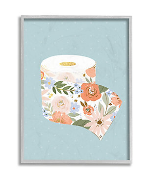 Stupell Spring Floral Print Toilet Paper Over Blue 16 X 20 Framed Wall Art, Green, large