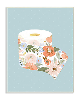 Stupell Spring Floral Print Toilet Paper over Blue 13 x 19 Wood Wall Art, Green, large
