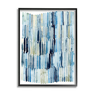 Stupell Nautical Inspired Abstraction Blue Beige Blocked Lines 24 x 30 Framed Wall Art, Blue, large