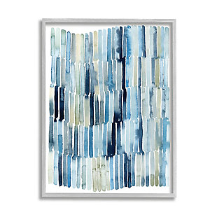 Stupell Nautical Inspired Abstraction Blue Beige Blocked Lines 16 X 20 Framed Wall Art, Blue, large