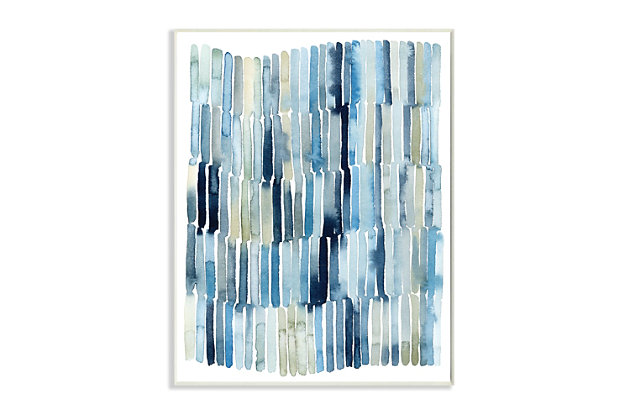 Stupell Nautical Inspired Abstraction Blue Beige Blocked Lines 10 x 15 Wood Wall Art, Blue, large