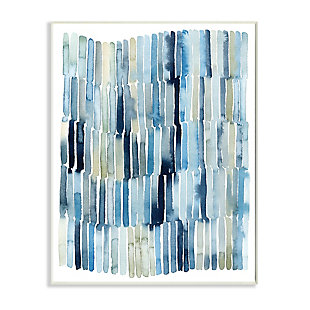 Stupell Nautical Inspired Abstraction Blue Beige Blocked Lines 13 x 19 Wood Wall Art, Blue, large