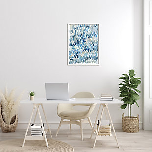Stupell Coastal Tile Abstract Soft Blue Beige Shapes 24 X 30 Framed Wall Art, Blue, rollover