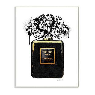 Stupell Spray Paint Flowers in Black Fashion Fragrance Bottle 13 x 19 Wood Wall Art, Black, large