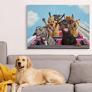 Stupell Dogs Riding Roller Coaster Funny Amusement Park 36 X 48 Canvas Wall Art, Blue, rollover