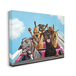 Stupell Dogs Riding Roller Coaster Funny Amusement Park 36 X 48 Canvas Wall Art, Blue, large