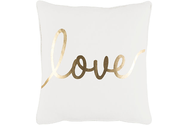 "Glyph ""Love"" Throw Pillow, Ivory/Gold, large"
