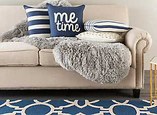 "Glyph ""Me Time"" Throw Pillow, Ivory/Navy, large"