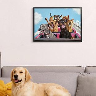 Stupell Dogs Riding Roller Coaster Funny Amusement Park 24 x 30 Framed Wall Art, Blue, rollover