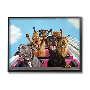 Stupell Dogs Riding Roller Coaster Funny Amusement Park 24 x 30 Framed Wall Art, Blue, large