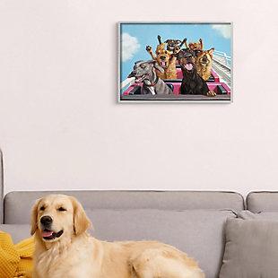 Stupell Dogs Riding Roller Coaster Funny Amusement Park 16 x 20 Framed Wall Art, Blue, rollover