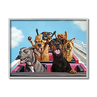Stupell Dogs Riding Roller Coaster Funny Amusement Park 16 x 20 Framed Wall Art, Blue, large