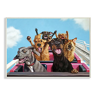 Stupell Dogs Riding Roller Coaster Funny Amusement Park 13 x 19 Wood Wall Art, Blue, large