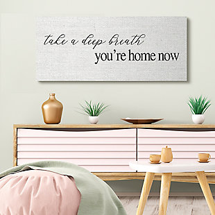 Stupell Deep Breath You're Home Phrase Charming Minimal Text 20 X 48 Canvas Wall Art, White, rollover