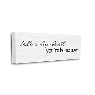 Stupell Deep Breath You're Home Phrase Charming Minimal Text 20 X 48 Canvas Wall Art, White, large