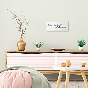Stupell Deep Breath You're Home Phrase Charming Minimal Text 7 x 17 Wood Wall Art, , rollover